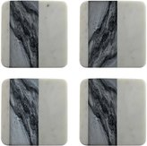 Be Home White & Gray Marble Coaster Set