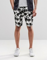 Asos Slim Short In Longer Length With Palm Tree Print