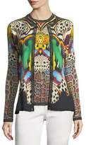 Roberto Cavalli Wool-Cashmere Button-Front Butterfly-Print Knit Cardigan
