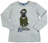 Armani Junior Military Dog Print Cotton Jersey T-Shirt