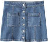 Joe Fresh Kid Girls' Button-Front Denim Skirt, Medium Wash (Size 10)