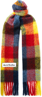 Acne Studios Fringed Logo-Appliqued Checked Knitted Scarf