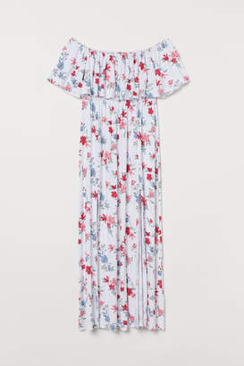 H&M H&M+ Long Dress with Ruffle - White