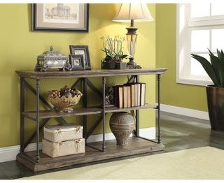 """Somette Industrial Rustic Iron and Wood Media Console - 20""""W x 60""""L x 34.5""""H"""
