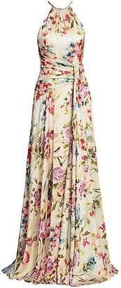 Theia Floral Halter Tie-Waist A-Line Gown