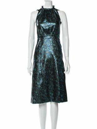 Prada Mock Neck Midi Length Dress Blue