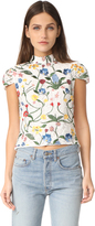Alice + Olivia Viktoria Embroidered High Neck Top