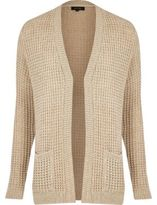 River Island Mens Light brown waffle knitted cardigan