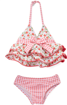 Beach Rays Red & Cream Floral & Gingham Lily Tankini Set - Infant