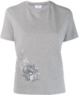 Thom Browne Floral Icon Sequin Side Slit T-shirt