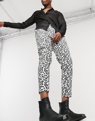 ASOS DESIGN tapered trouser in leopard print