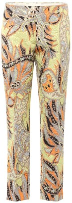 Dries Van Noten Floral jacquard cropped trousers