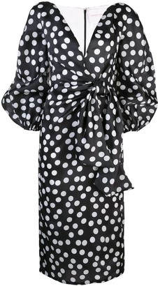 Carolina Herrera Polka Dot V-Neck Dress