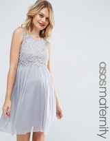 Asos Mesh Skater Prom Dress With Delicate Lace Crop Top
