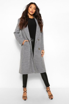 boohoo Tall Double Breasted Boyfriend Wool Look Check Coat