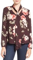 Cupcakes And Cashmere Floral Print Tie Neck Blouse
