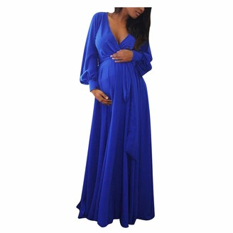 So Buts Maternity Dress SO-buts Women Pregnant Maternity Autumn V-Neck Long Sleeve Solid Ruffles Frenulum Sexy Maxi Long Dress Party Wedding Dresses (Blue XL)