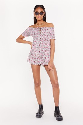 Nasty Gal Womens Floral Shirred Playsuit - Pink - 6, Pink