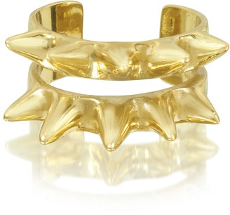 Bernard Delettrez Double Band Bronze Ring w/Spikes