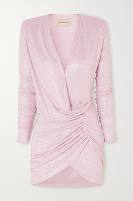 Alexandre Vauthier Ruched Crystal-embellished Stretch-jersey Mini Dress - Pink
