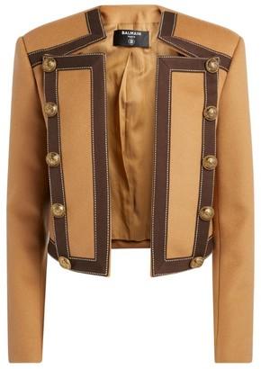 Balmain Wool-Blend Two-Tone Spencer Jacket