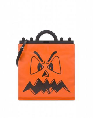 Moschino Pumpkin Face Flat Shopper Woman Orange Size U It - (one Size Us)