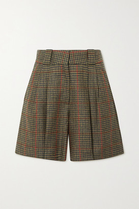 BLAZÉ MILANO Drum Beat Fell Checked Wool Shorts - Army green