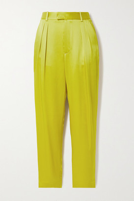 Sally LaPointe Pleated Duchesse-satin Tapered Pants - Chartreuse