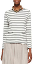 Joan Vass Long-Sleeve Striped Top