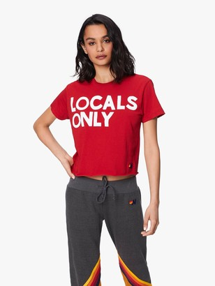 Aviator Nation Locals Only Boyfriend Tee - Vintage Red