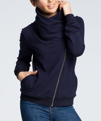 Bewear BeWear Women's Sweatshirts and Hoodies navy - Navy Blue Asymmetrical-Zip Funnel Collar Sweatshirt - Women