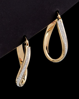 Italian Gold 14K Two-Tone Glass Blast Finished Curved Hoops