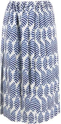 Sara Lanzi Leaf Pattern Midi Skirt