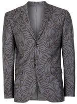 Topman Grey Fern Print Skinny Fit Suit Jacket