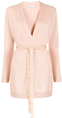RED Valentino tulle panel belted cardigan