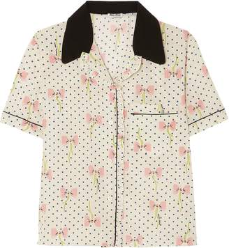 Miu Miu Printed Silk Crepe De Chine Top