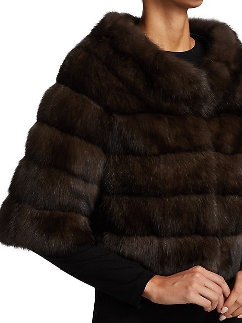 Thumbnail for your product : The Fur Salon Boatneck Sable Fur Bolero