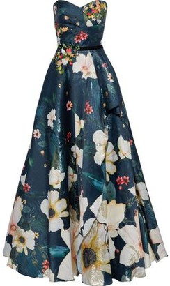 Marchesa Strapless Embellished Metallic Floral-print Fil Coupe Organza Gown