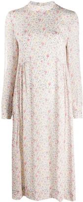 Ganni Floral Print Long-Sleeve Dress