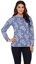 Denim & Co. As Is Floral Jacquard Round Neck Long Sleeve Top