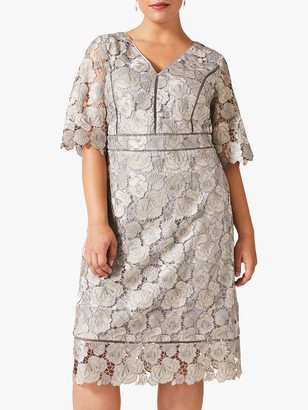 Studio 8 Ellis Floral Lace Dress, Grey/Pastel Blue