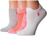 Lauren Ralph Lauren Marl Microfiber Double Tab Low Cut 3-Pack Women's Low Cut Socks Shoes