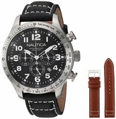 "Nautica Men's N17616G ""BFD 101"" Stainless Steel Watch with Black Leather Band"