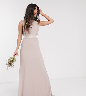 TFNC Petite Bridesmaid exclusive bow back maxi in pink