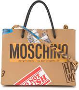 Moschino Brown sticker motif tote bag