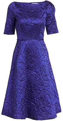 Teri Jon By Rickie Freeman Jacquard Bateau Neck A-Line Dress