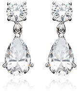Crislu 8.00 cttw Round Stud and Pear Shaped Cubic Zirconia Drop Earrings