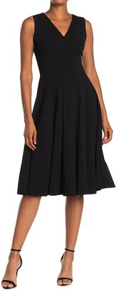 Calvin Klein V-Neck Fit & Flare Dress