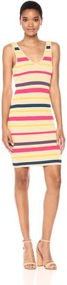 GUESS Women's Sleeveless Brit Stripe Tank Dress Mila Honey Peach XL