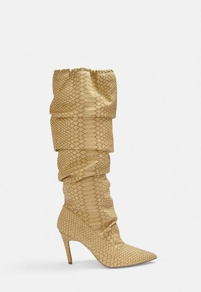 Missguided Beige Snake Print Ruched Pointed Toe Heeled Boots